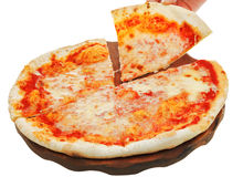 Portion italian pizza Margherita on wooden board Stock Photo