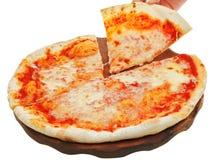 Portion italian pizza Margherita on wooden board Stock Photo