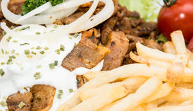 Portion of Kebab meat (macro shot) Royalty Free Stock Images