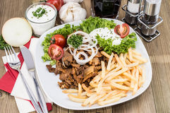 Portion of Kebab meat on a plate Stock Image