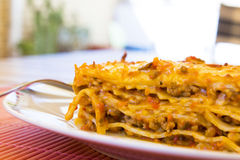 Portion of lasagna Stock Images