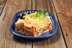 Portion of lasagna Stock Image