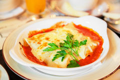 Lasagna in sauce Stock Photos
