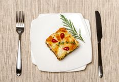 Portion of lasagna on the square plate Stock Photos