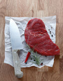 Portion of lean raw steak Royalty Free Stock Images