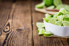 Portion of Lime Slices Royalty Free Stock Photos
