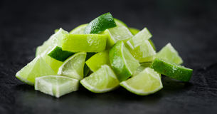 Portion of Lime Slices Stock Images