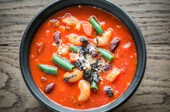 Portion of minestrone soup Stock Photos