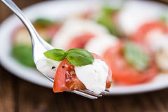 Portion of Mozarella with Tomatoes and Balsamico dressing. (selective focus; close-up shot royalty free stock photography