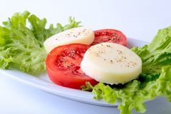 Portion of Mozzarella with Tomatoes, lettuce leaf and Balsamic dressing on white plate. selective focus close-up shot. Portion of Mozzarella with Tomatoes Stock Photography