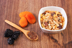 Portion of muesli, linseed and dried fruits, concept of healthy nutrition and increase metabolism Stock Images