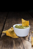 Portion of Nachos (with Guacamole) Royalty Free Stock Images