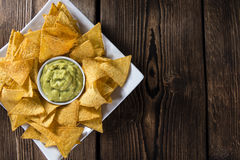 Portion of Nachos (with Guacamole) Stock Images