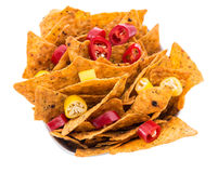 Portion of Nachos isoalted on white royalty free stock photos