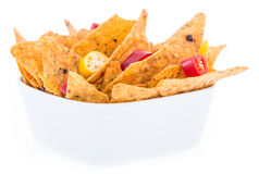 Portion of Nachos isoalted on white Stock Photography