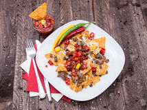 Portion of Nachos with Meat and Cheese Royalty Free Stock Images