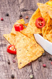 Portion of Nachos with Pepperonis Royalty Free Stock Photo
