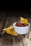 Portion of Nachos (with Salsa Dip) Stock Photos