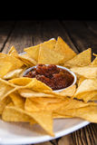 Portion of Nachos (with Salsa Dip) Stock Image