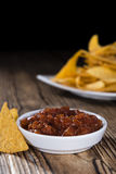Portion of Nachos (with Salsa Dip) Stock Images