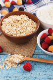 Portion of oatmeal in the bowl with berries Stock Photography