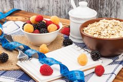 Portion of oatmeal in the bowl with raspberries and measuring tape Royalty Free Stock Photos