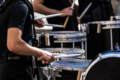 Free Portion Of A Marching Band Drum Line Performing Stock Image - 160726801
