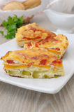 Portion omelet with vegetables Royalty Free Stock Photography
