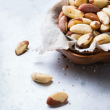 Portion of organic healthy brazil nuts Royalty Free Stock Photo