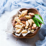 Portion of organic healthy brazil nuts Royalty Free Stock Photography
