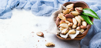 Portion of organic healthy brazil nuts