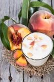 Portion of Peach Yogurt Stock Photos