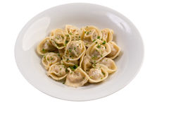 Portion of pelmeni with greenery on white plate Stock Photography