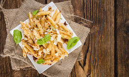 Portion of Penne with Tomato Pesto Stock Images