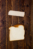 Portion piece of white bread Stock Images
