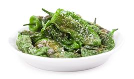 Portion of Pimientos de Padron isolated on white Royalty Free Stock Image