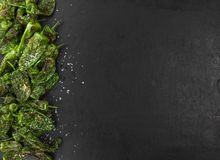 Portion of Pimientos de Padron on a slate slab Royalty Free Stock Photo