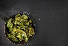 Portion of Pimientos de Padron on a slate slab Royalty Free Stock Images