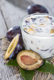 Portion of Plum Yoghurt Royalty Free Stock Images