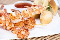 Portion of Prawns with Garlic Bread Royalty Free Stock Photo