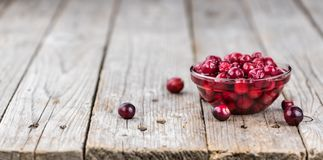Some fresh Cranberries preserved selective focus; close-up sh. Portion of Preserved Cranberries as detailed close-up shot; selective focus Stock Photo