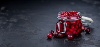 Some fresh Cranberries preserved selective focus; close-up sh. Portion of Preserved Cranberries as detailed close-up shot; selective focus Royalty Free Stock Photo