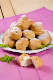 Portion of profiteroles for dessert Royalty Free Stock Images