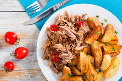 Portion of pulled slow-cooked delicious meat with fried potato royalty free stock photos