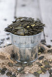 Portion of Pumpkin Seeds Stock Photography