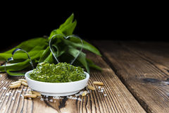 Portion of Ramson Pesto. Portion of fresh homemade Ramson Pesto on rustic background Stock Photos