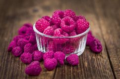 Portion of Raspberries dried, selective focus. Some homemade Raspberries dried as detailed close-up shot, selective focus stock images
