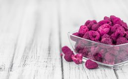 Portion of Raspberries dried, selective focus. Some homemade Raspberries dried as detailed close-up shot, selective focus stock photo