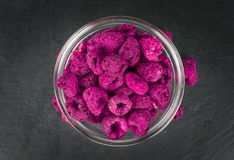 Portion of Raspberries dried, selective focus Stock Image