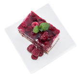 Portion of Raspberry Tart on white Royalty Free Stock Images